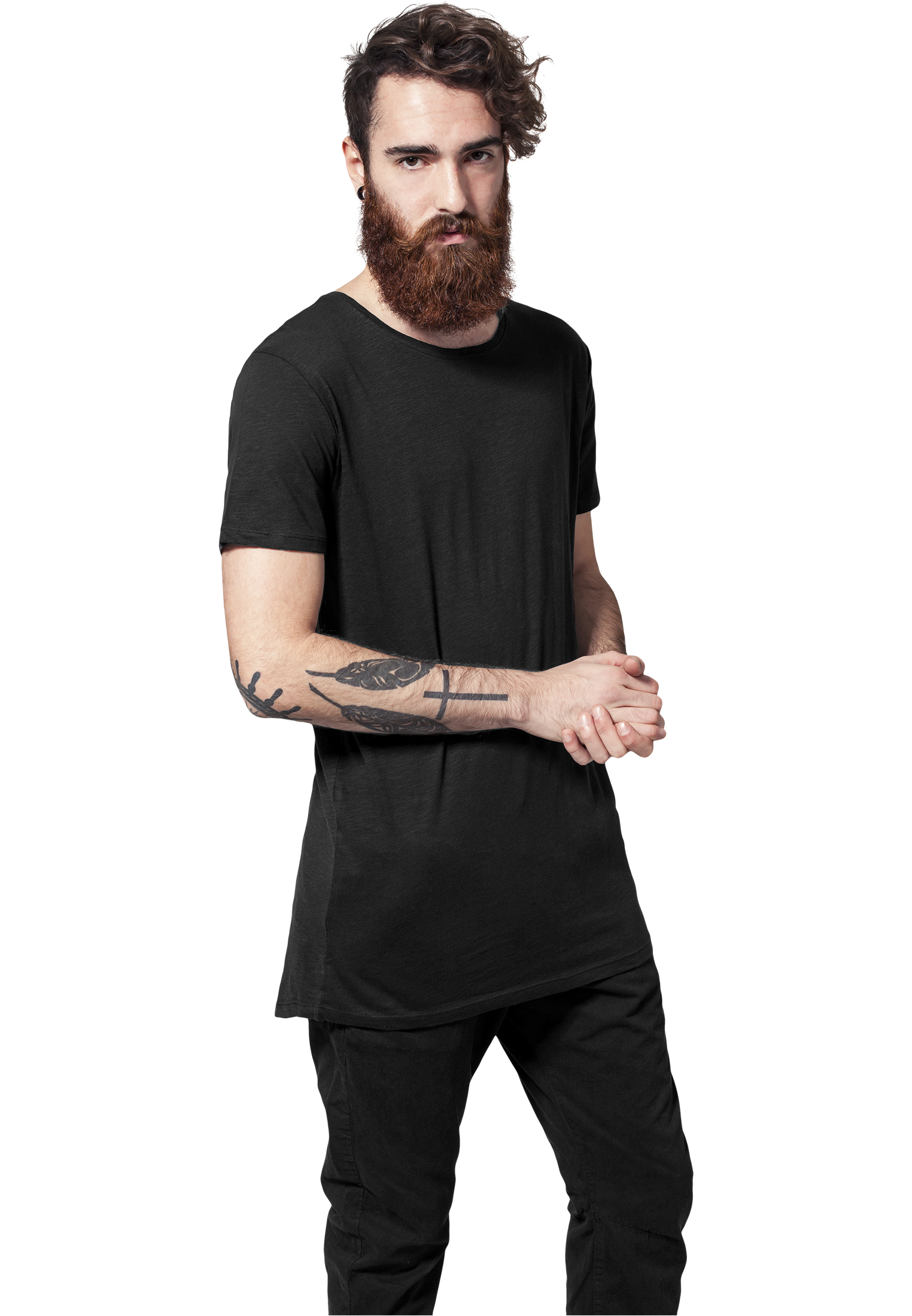 TB1094 Long Fit T-shirt Black long slub UC Mannen