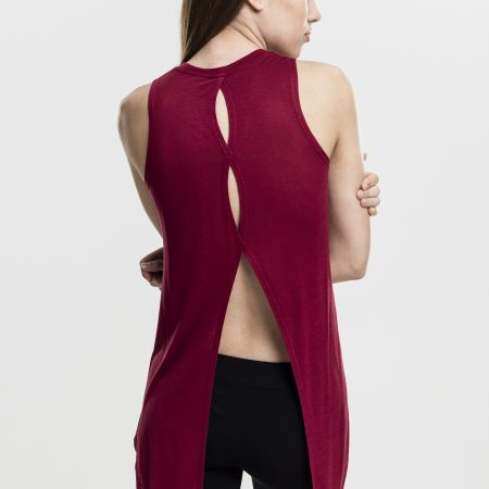 TB1509 Basic Open Back Top Burgundy UC Vrouwen