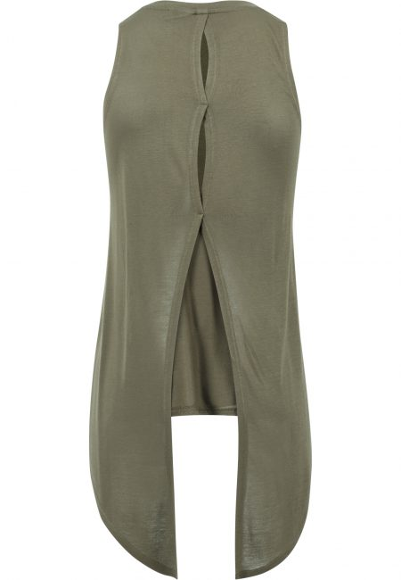 TB1509 Basic Open Back Top Olive UC Vrouwen