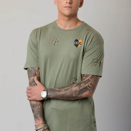 M-DDC0003-TS Long Fit T-shirt Gaten Army Green