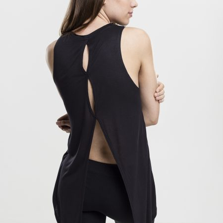 TB1509 Basic Open Back Top Black UC Vrouwen