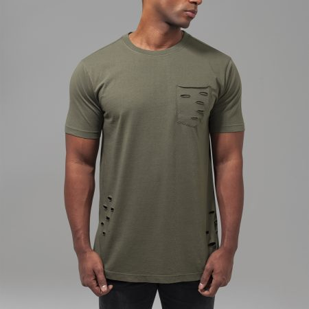 TB1570 Basic long fit T-shirt met gaten en borstzak Olive UC Mannen