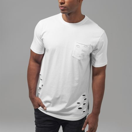 TB1570 Basic long fit T-shirt met gaten en borstzak White UC Mannen
